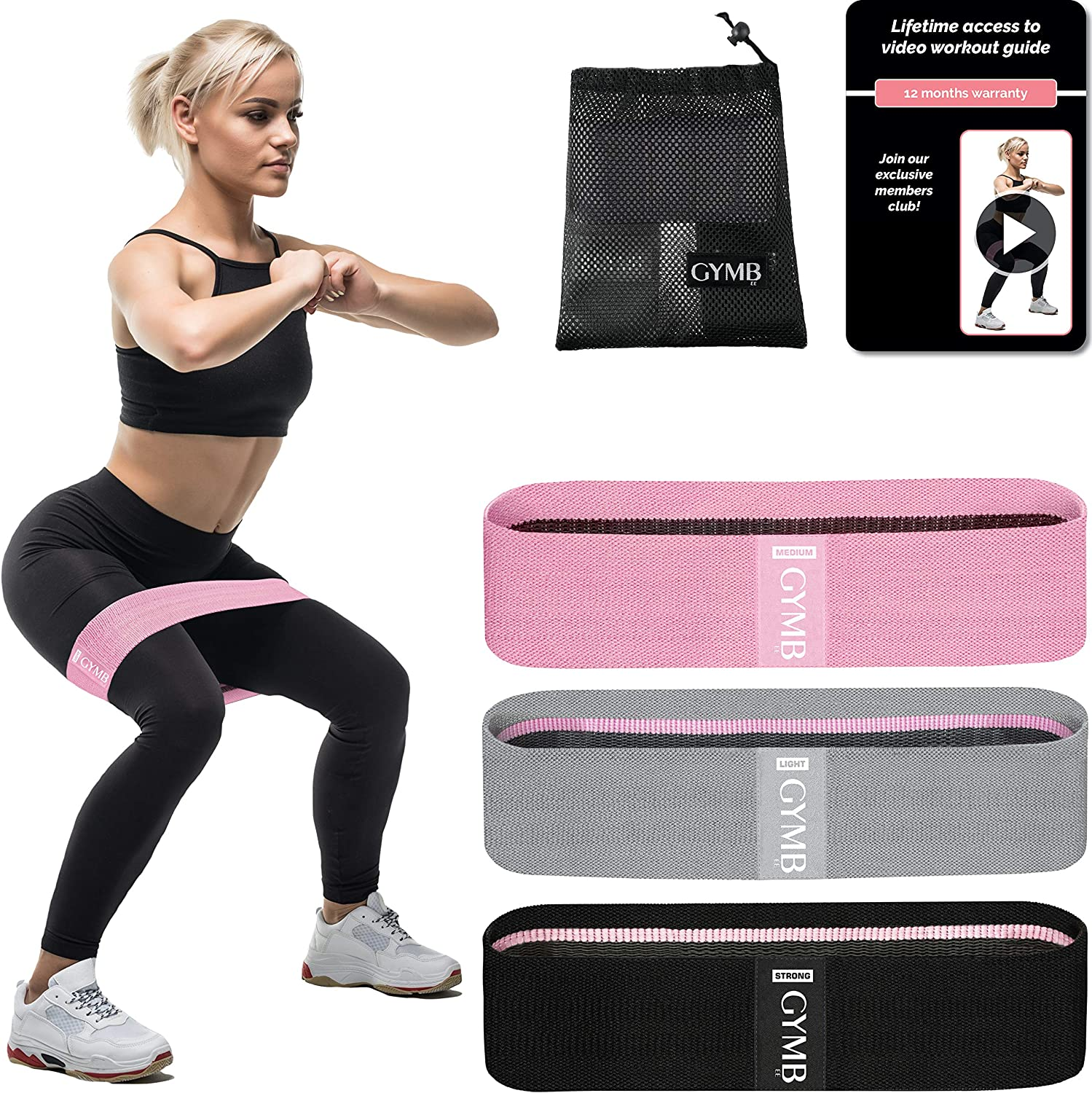 Booty 3 Resistance Bands for Legs and Butt Set