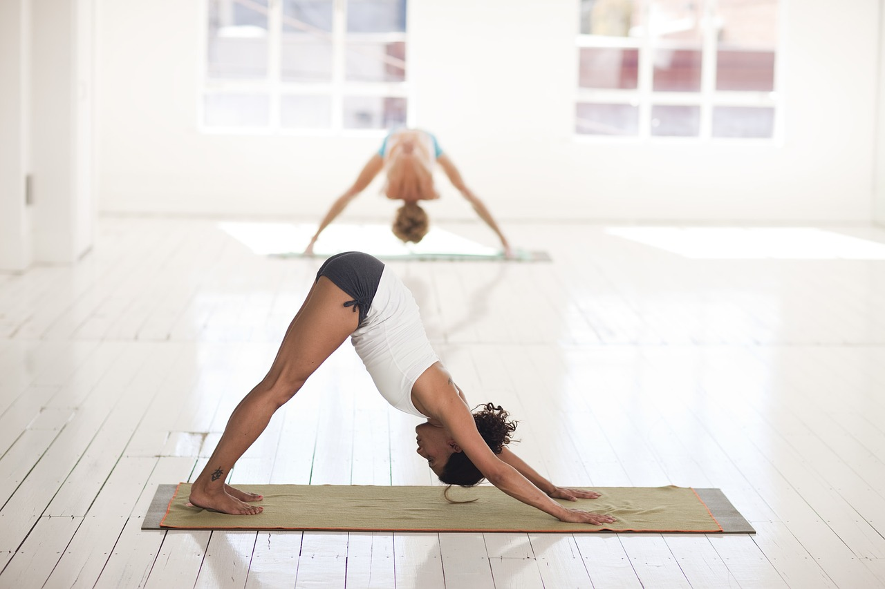 Downward dog yoga stretch