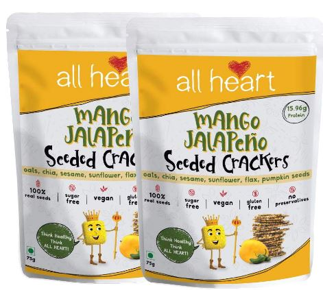 ALL HEART Mango Jalapēno Seeded Crackers - Gluten Free - Vegan - High Protein - Bite Sized Superfood Snack - 75gm ( Pack of 2 )