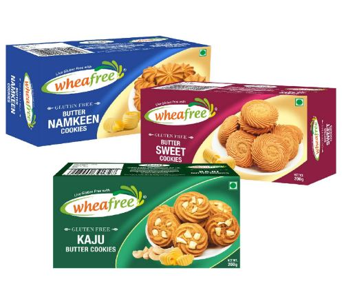 Wheafree Gluten Free Biscuits Combo (Butter Sweet + Butter namkeen + Kaju Butter) Certified Gluten Free